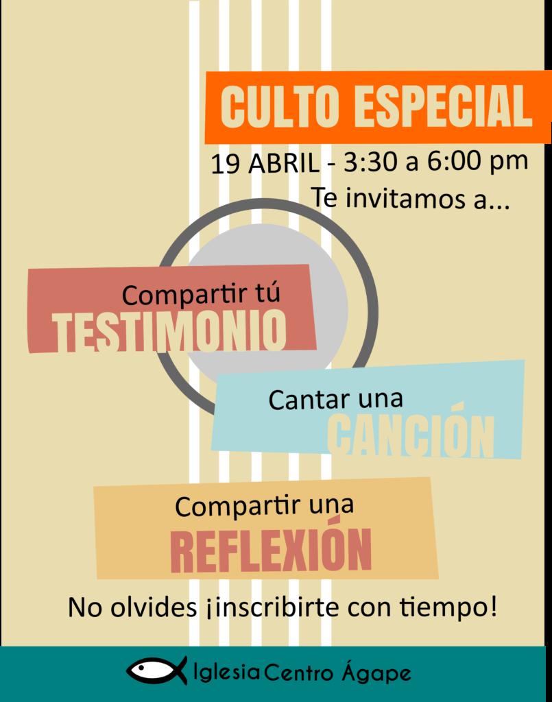 Culto Especial Semana Santa @ Iglesia Centro Agape